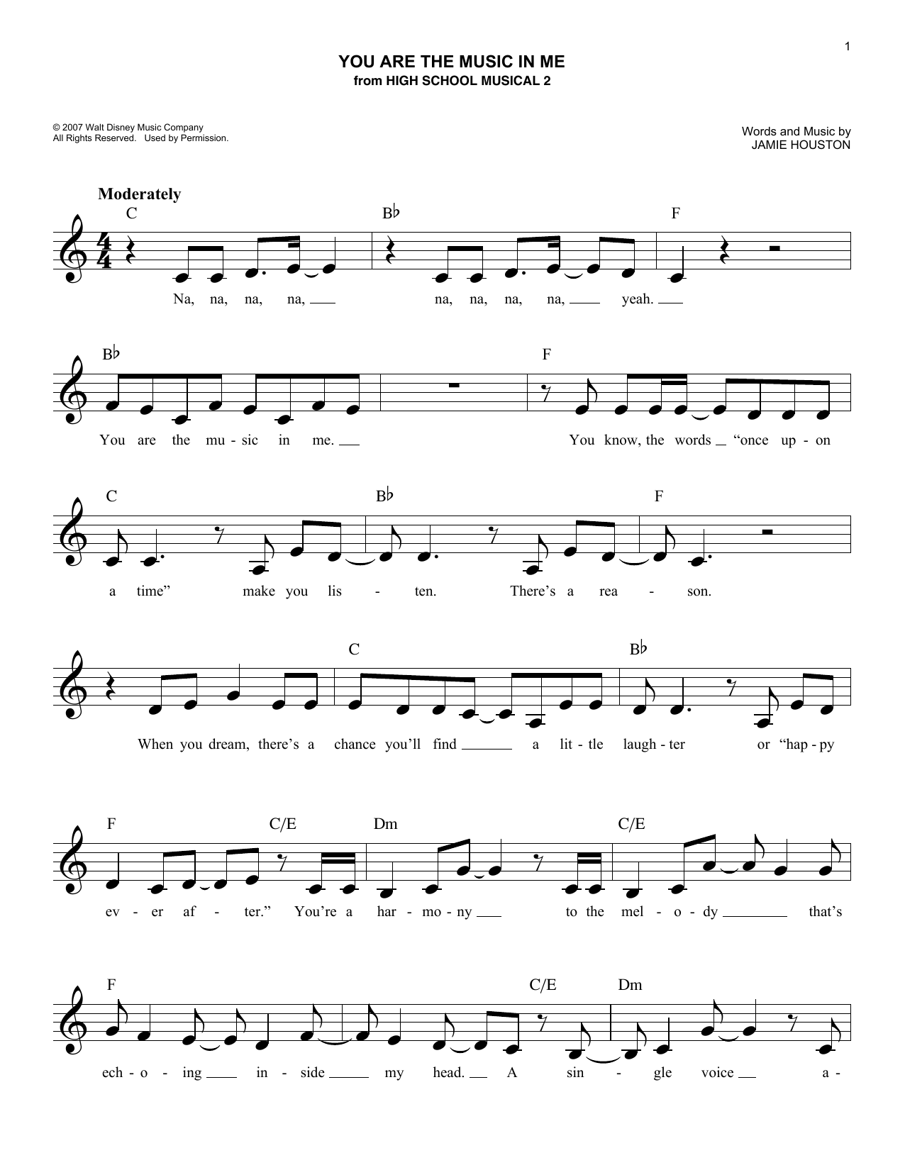 You Are The Music In Me (Lead Sheet / Fake Book)