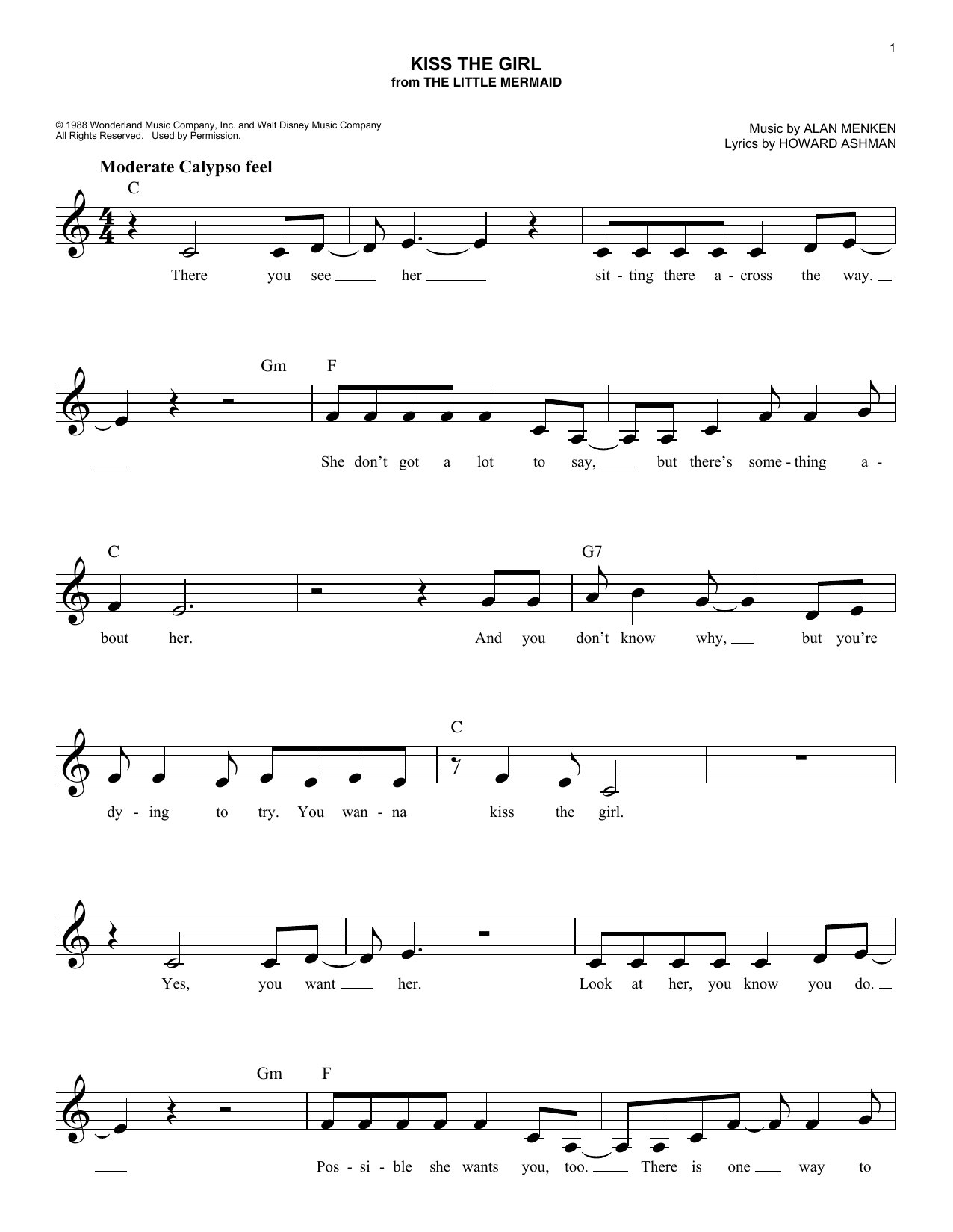 Kiss The Girl (from The Little Mermaid) (Lead Sheet / Fake Book)