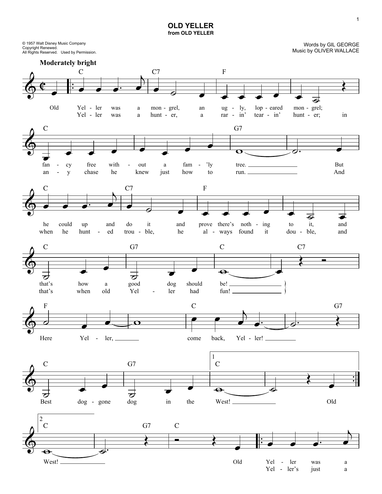 Old Yeller Sheet Music