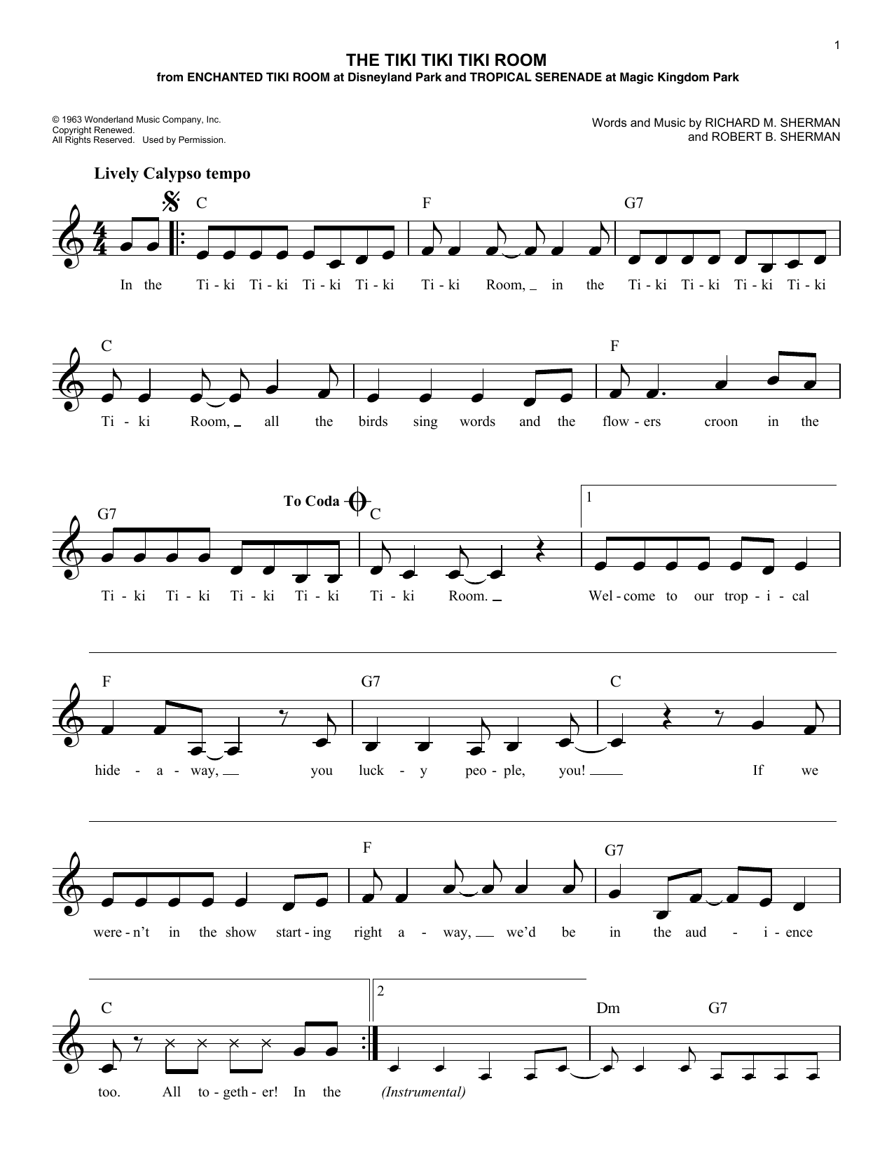 The Tiki Tiki Tiki Room (Lead Sheet / Fake Book)
