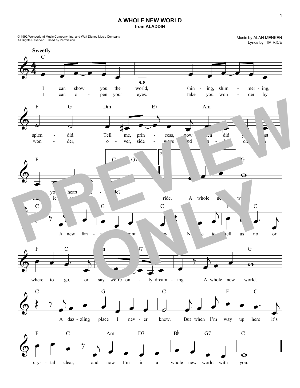 A Whole New World (from Aladdin) (Lead Sheet / Fake Book)