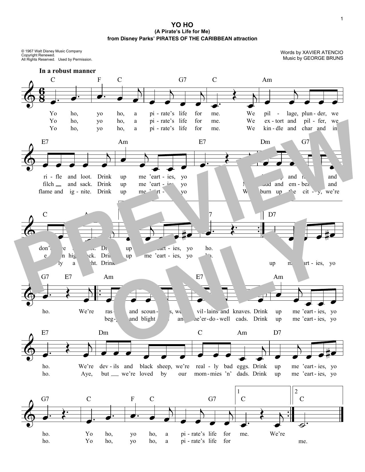 Yo Ho (A Pirate's Life For Me) Sheet Music