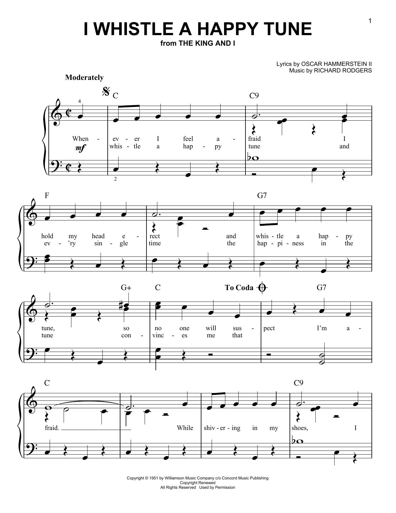 Partition piano I Whistle A Happy Tune de Rodgers & Hammerstein - Piano Facile