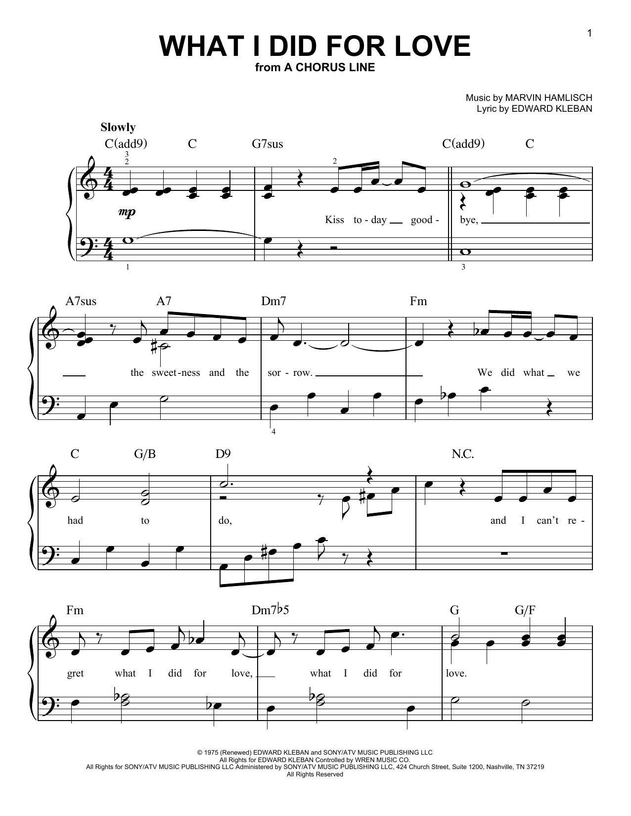 What I Did For Love Sheet Music