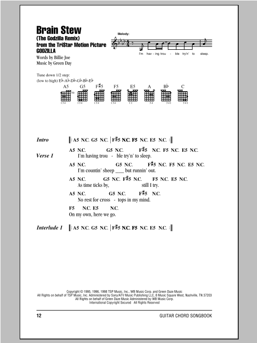 Brain Stew The Godzilla Remix Sheet Music Direct