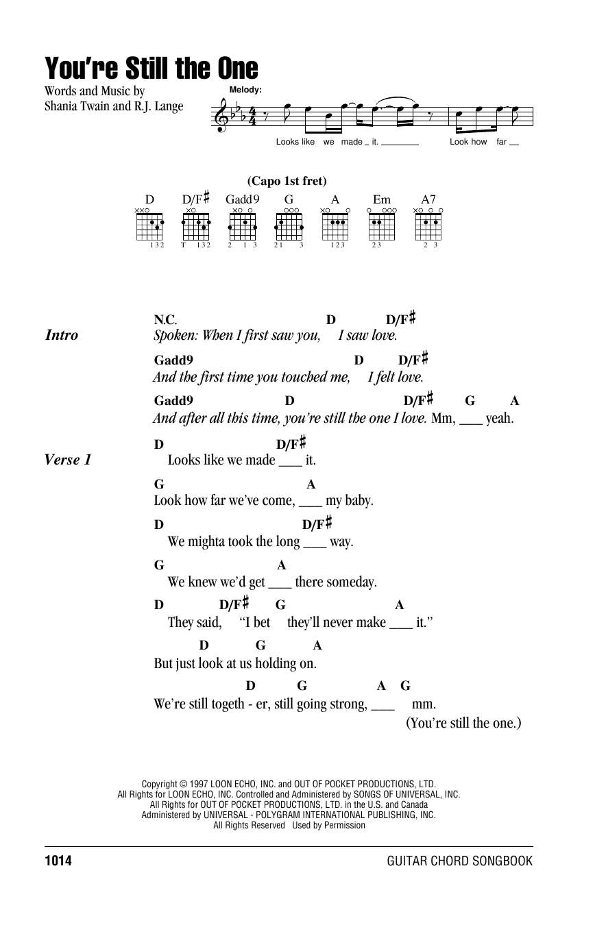 Youre Still The One Shania Twain Lyrics Chords
