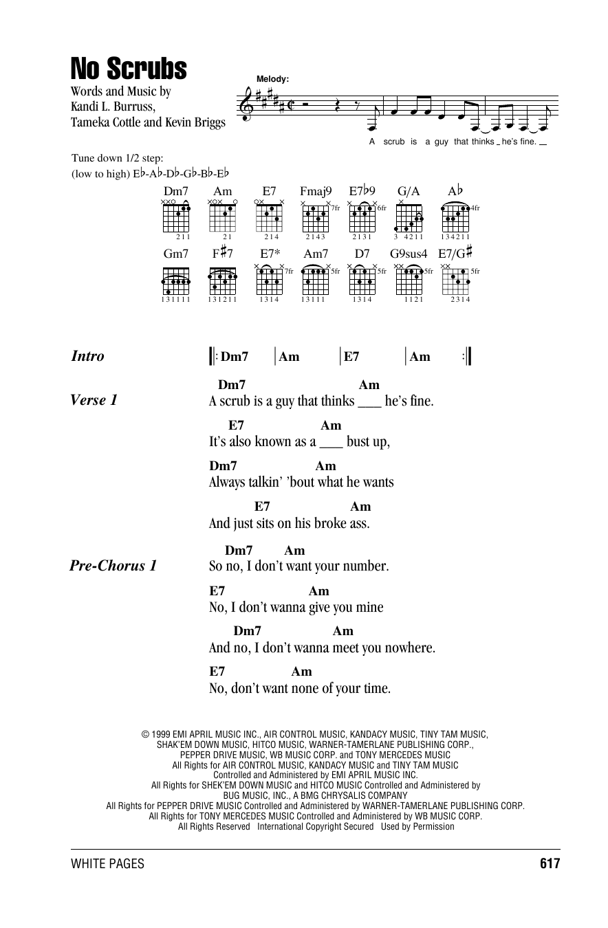No Scrubs (Guitar Chords/Lyrics)
