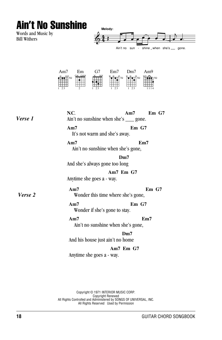 Aint No Sunshine Sheet Music Bill Withers Lyrics Chords