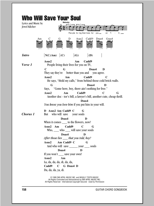 Who Will Save Your Soul Sheet Music | Jewel | Lyrics & Chords