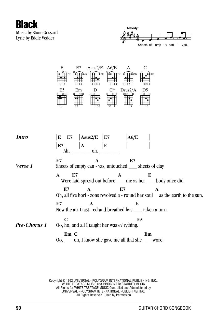 Black Sheet Music Pearl Jam Lyrics Chords