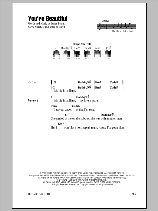You\'re Beautiful by James Blunt - Guitar Chords/Lyrics - Guitar ...