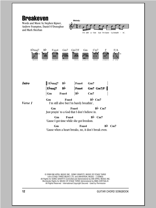 Breakeven Sheet Music Direct