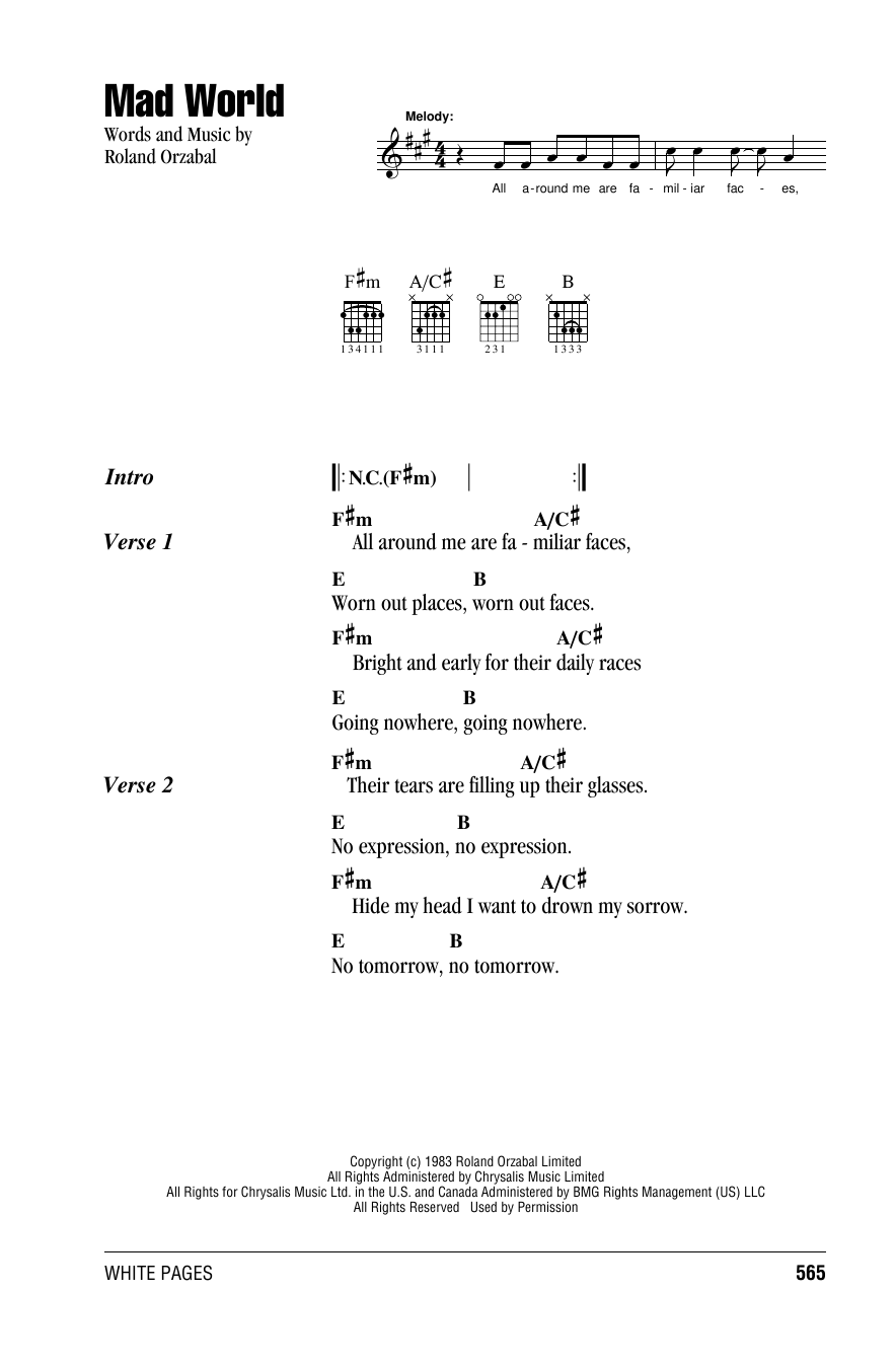 Mad World Sheet Music By Tears For Fears Lyrics Chords 162462