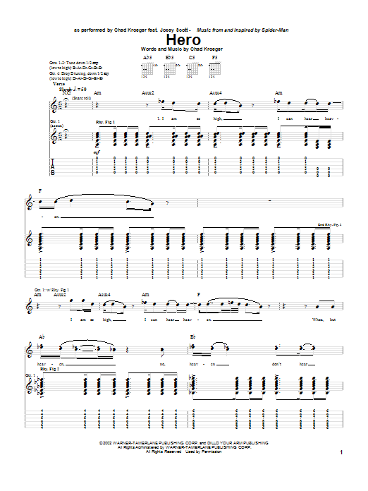 Hero (Guitar Tab)