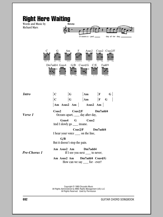 Right Here Waiting Sheet Music By Richard Marx Lyrics Chords