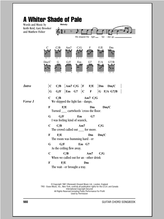 A Whiter Shade Of Pale By Procol Harum Guitar Chords
