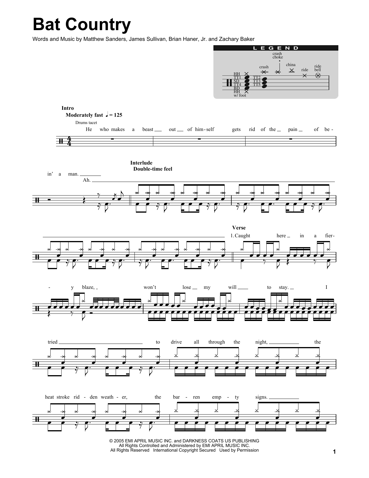 Bat Country Sheet Music