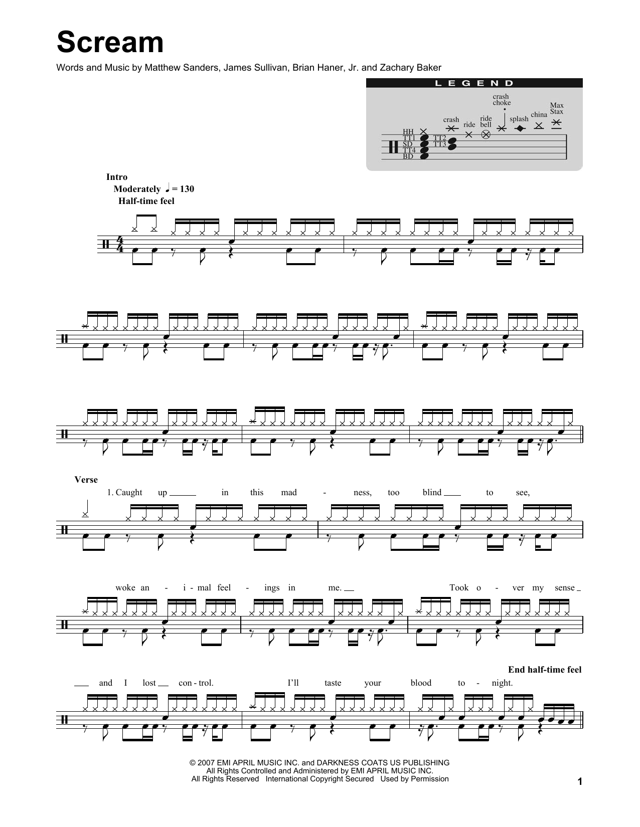 Scream (Drums Transcription)