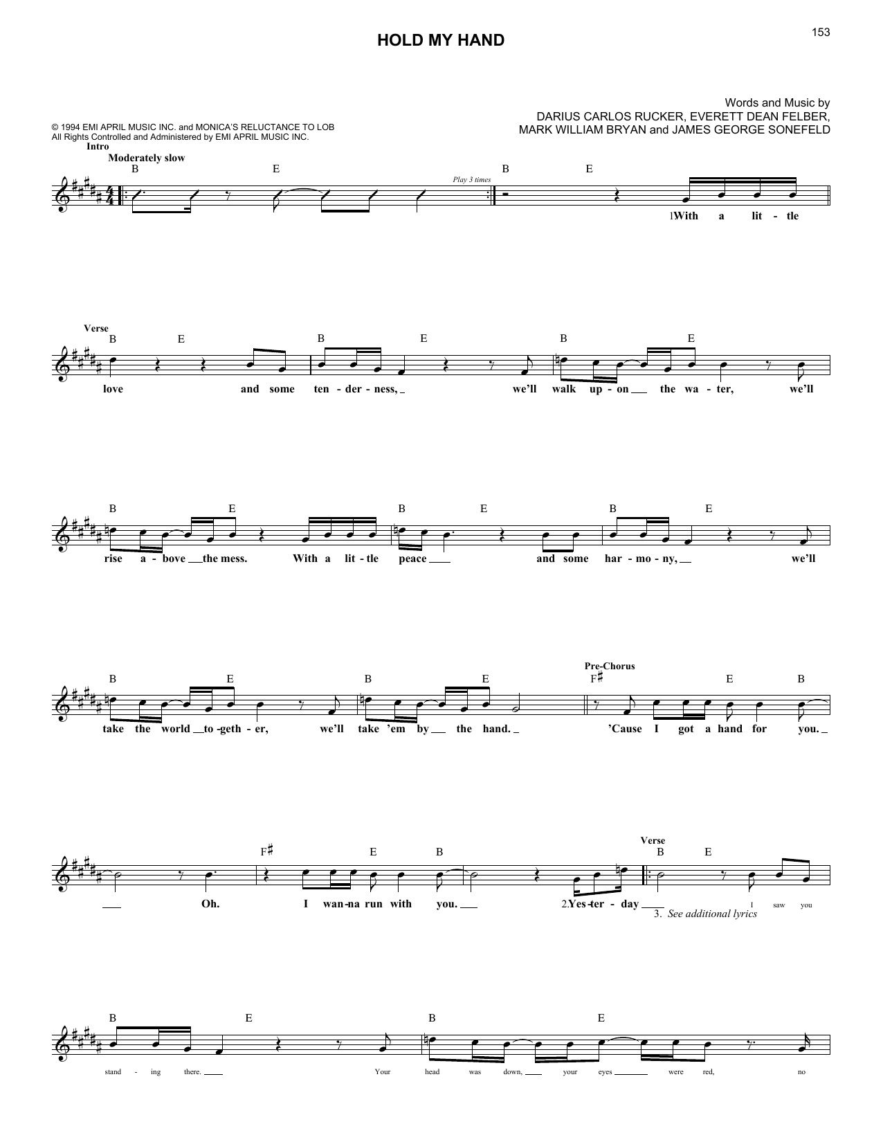 Hold My Hand (Lead Sheet / Fake Book)