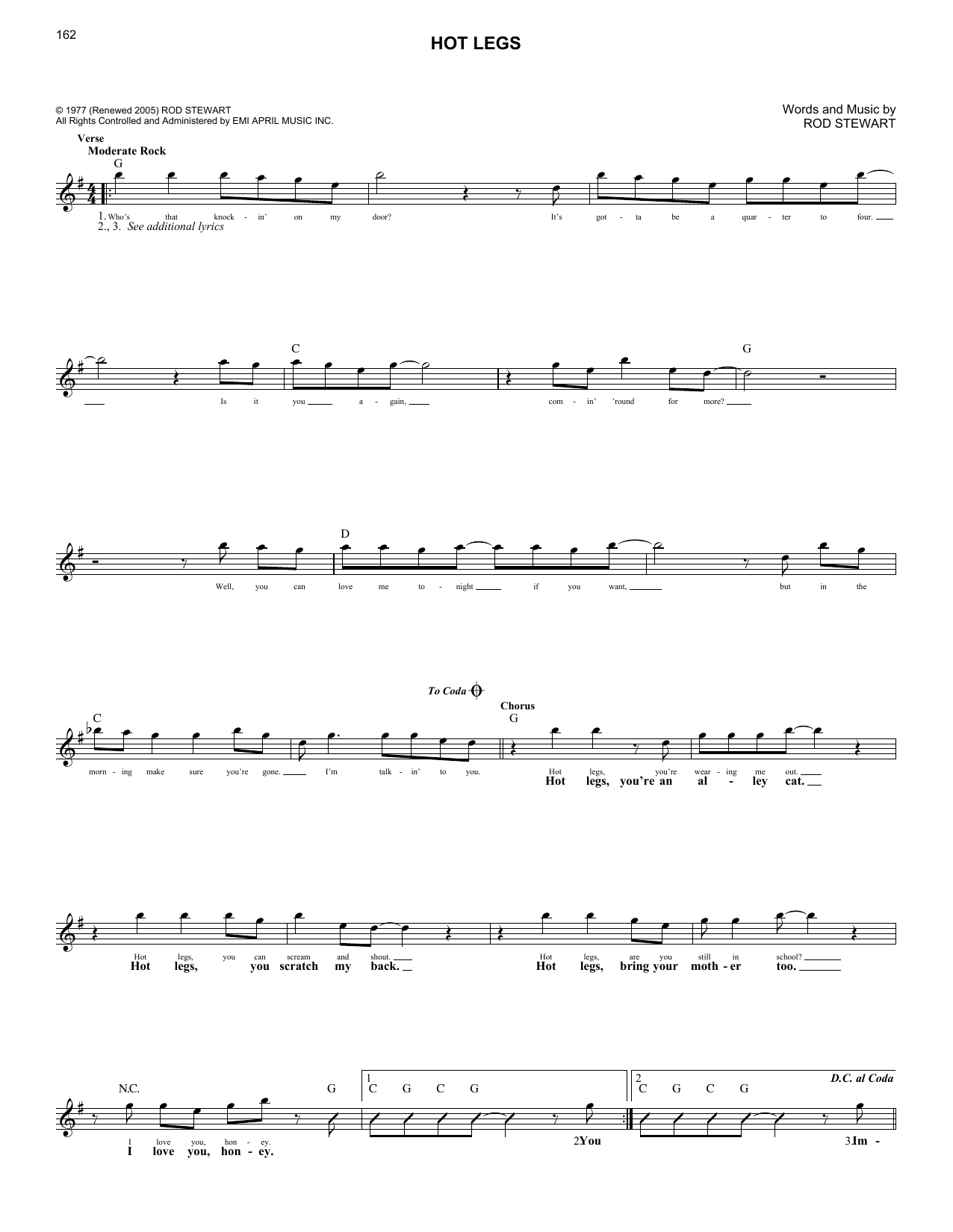 Hot Legs (Lead Sheet / Fake Book)