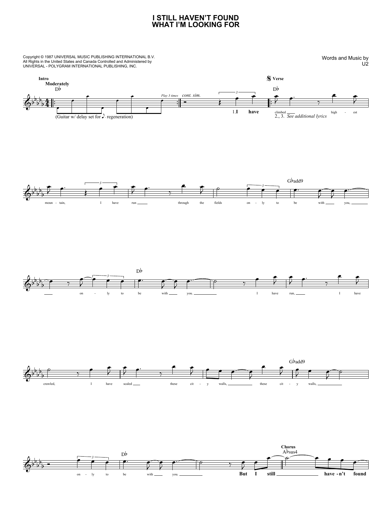 I Still Haven't Found What I'm Looking For (Lead Sheet / Fake Book)