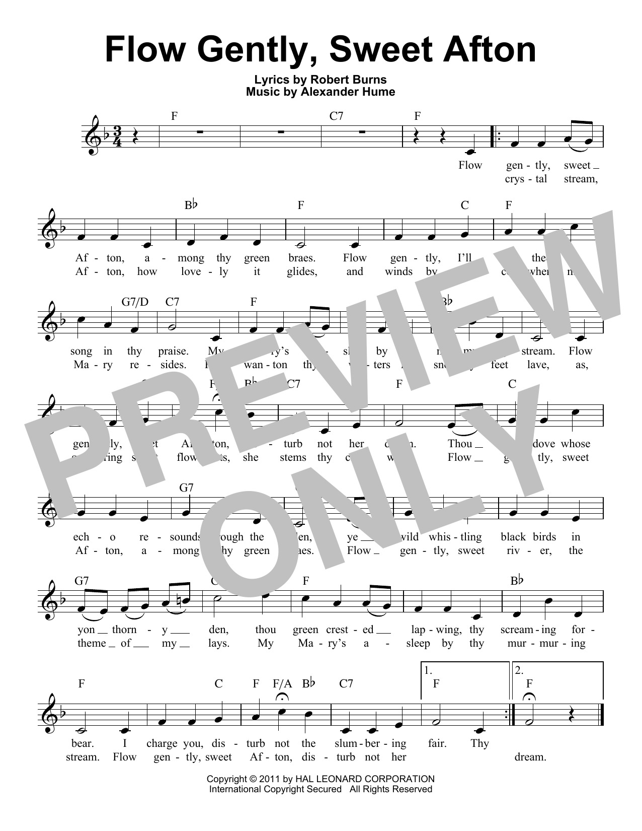 Flow Gently, Sweet Afton Sheet Music