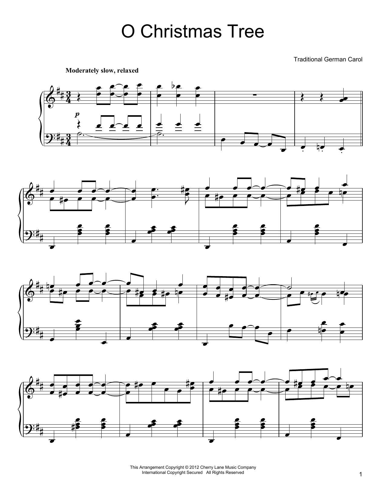Partition piano O Christmas Tree de Traditional German Carol - Piano Solo