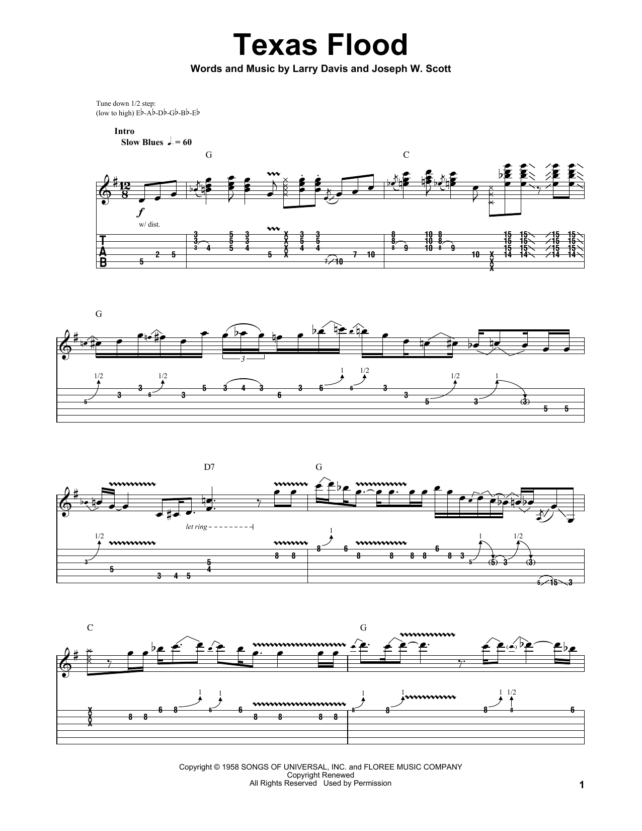 Tablature guitare Texas Flood de Stevie Ray Vaughan - Playback Guitare