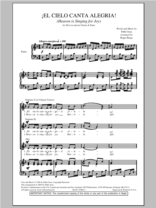 El Cielo Canta Alegria! (Heaven Is Singing For Joy!) Sheet Music