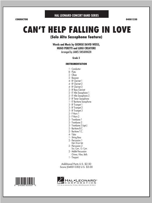Can't Help Falling In Love (Solo Alto Saxophone Feature) - Full Score (Concert Band)