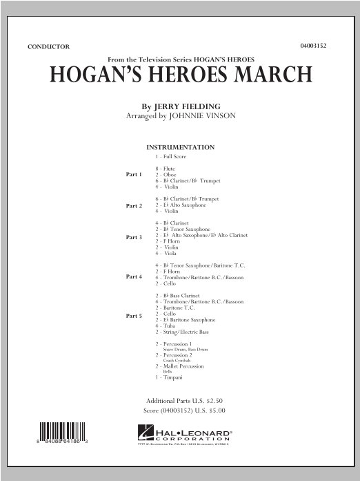 Hogan's Heroes March (COMPLETE) sheet music for concert band by Jerry Fielding and Johnnie Vinson. Score Image Preview.