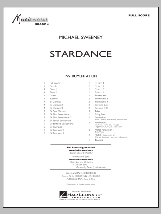 Stardance (COMPLETE) sheet music for concert band by Michael Sweeney. Score Image Preview.