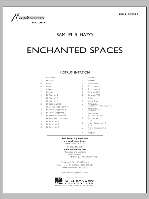 Enchanted Spaces (COMPLETE) sheet music for concert band by Samuel R. Hazo. Score Image Preview.