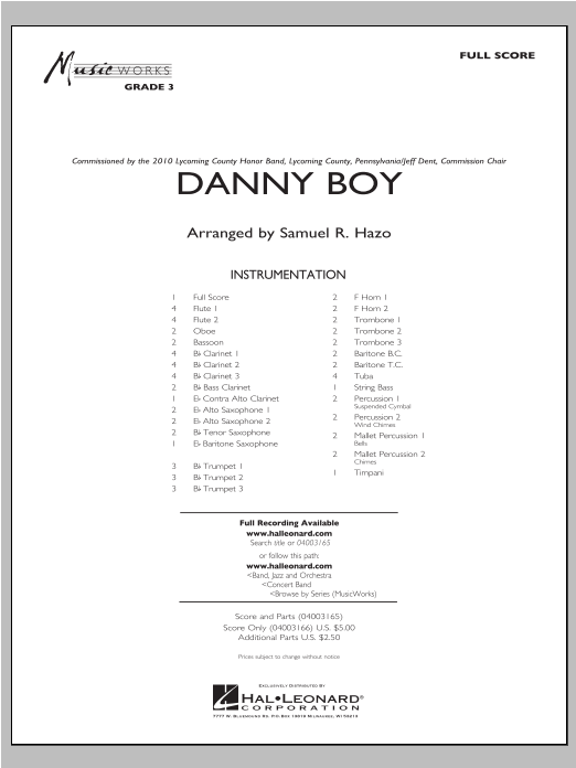 Danny Boy (COMPLETE) sheet music for concert band by Samuel R. Hazo. Score Image Preview.