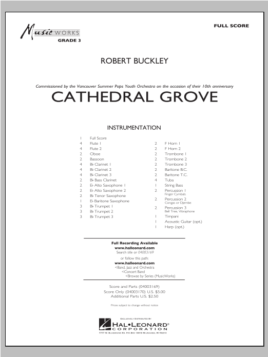 Cathedral Grove (COMPLETE) sheet music for concert band by Robert Buckley. Score Image Preview.