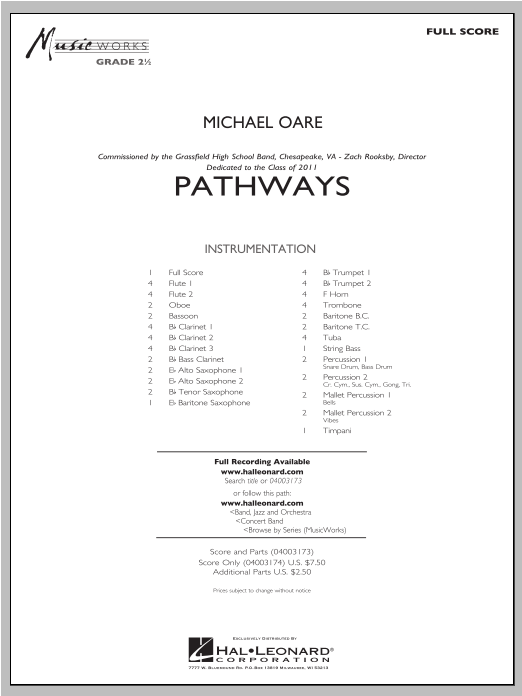 Pathways (COMPLETE) sheet music for concert band by Michael Oare. Score Image Preview.