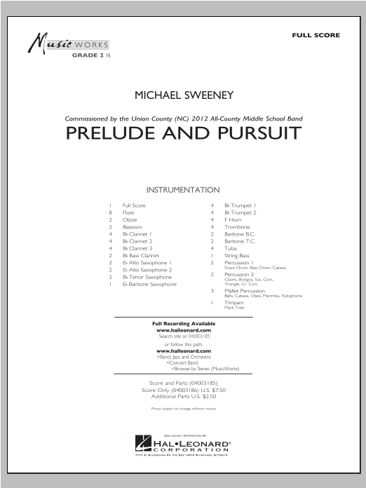 Prelude And Pursuit (COMPLETE) sheet music for concert band by Michael Sweeney. Score Image Preview.
