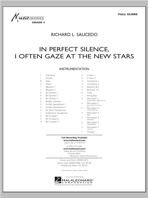 In Perfect Silence, I Often Gaze At The New Stars (COMPLETE) sheet music for concert band by Richard L. Saucedo. Score Image Preview.