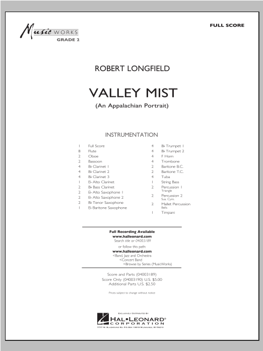 Valley Mist (An Appalachian Portrait) (COMPLETE) sheet music for concert band by Robert Longfield. Score Image Preview.