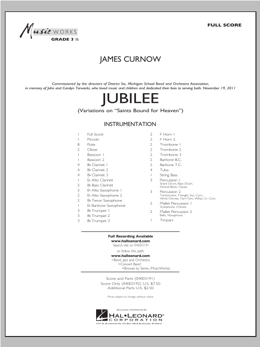"Jubilee (Variations On ""Saints Bound for Heaven"") - Full Score Sheet Music"
