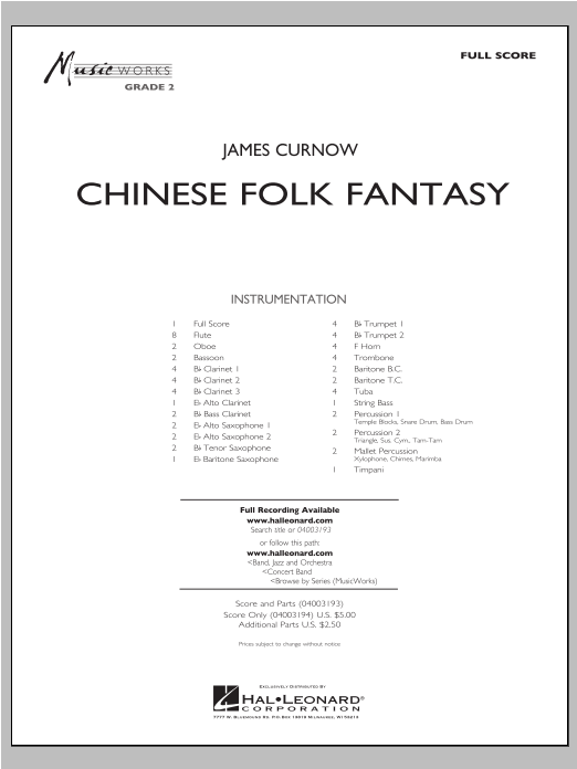 Chinese Folk Fantasy (COMPLETE) sheet music for concert band by James Curnow. Score Image Preview.