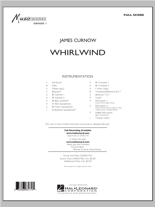 Whirlwind (COMPLETE) sheet music for concert band by James Curnow. Score Image Preview.