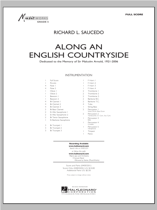 Along An English Countryside (COMPLETE) sheet music for concert band by Richard L. Saucedo. Score Image Preview.