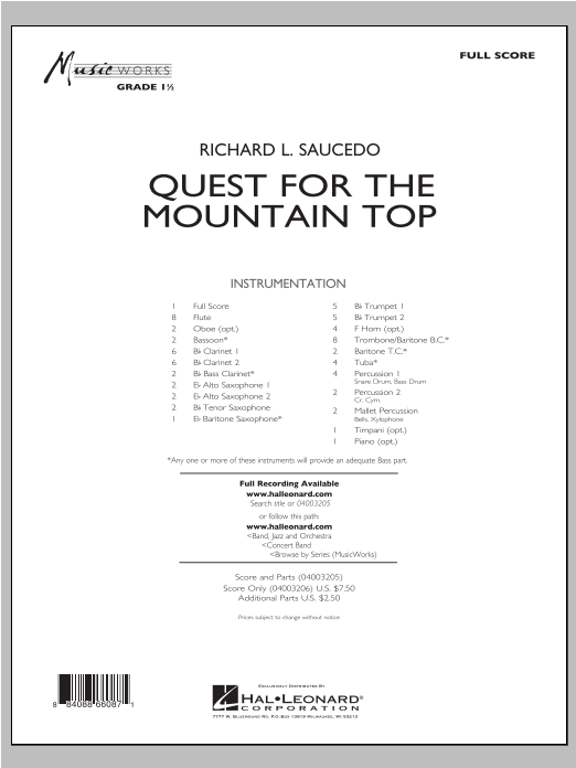 Quest For The Mountain Top (COMPLETE) sheet music for concert band by Richard L. Saucedo. Score Image Preview.