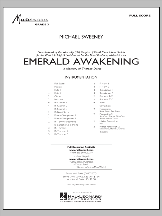 Emerald Awakening (COMPLETE) sheet music for concert band by Michael Sweeney. Score Image Preview.