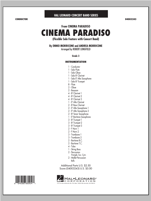 Cinema Paradiso (Flexible Solo with Band) (COMPLETE) sheet music for concert band by Robert Longfield, Andrea Morricone and Ennio Morricone. Score Image Preview.