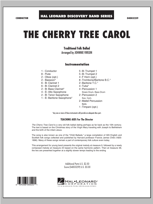 The Cherry Tree Carol (COMPLETE) sheet music for concert band by Johnnie Vinson. Score Image Preview.
