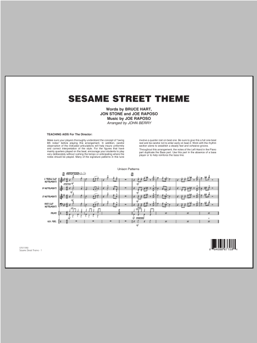 Sesame Street Theme - Full Score Sheet Music