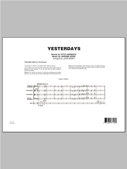 Yesterdays (COMPLETE) sheet music for jazz band ( Ensemble) by John Berry, Jerome Kern and Otto Harbach. Score Image Preview.