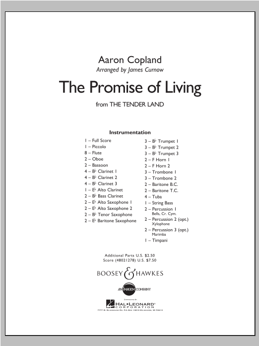 The Promise Of Living (from The Tender Land) - Conductor Score (Full Score) Sheet Music